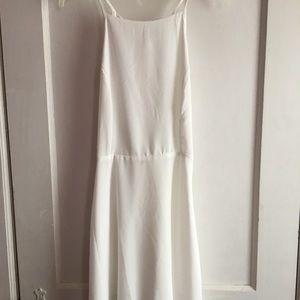 white, open back dress